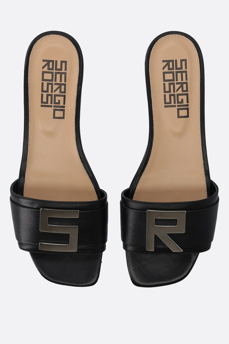 SERGIO ROSSI: Logomaniac soft nappa flat sandals Color Black_5