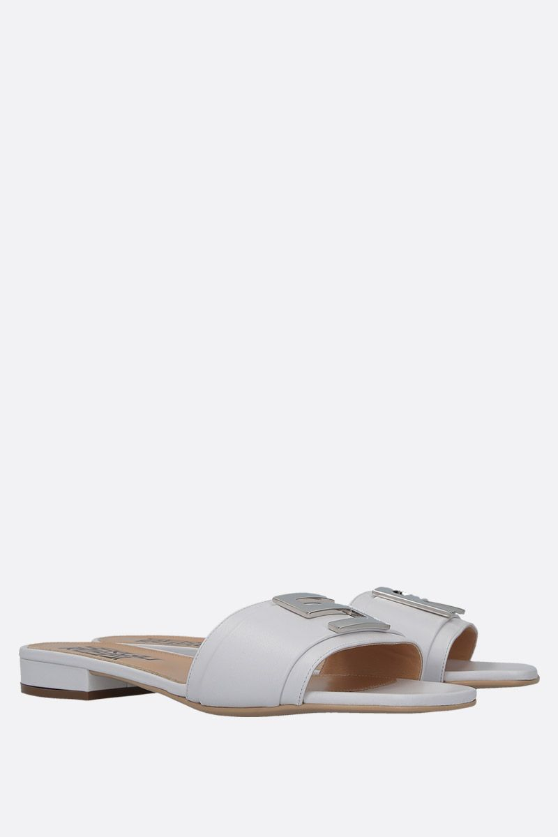SERGIO ROSSI: Logomaniac soft nappa flat sandals Color White_3
