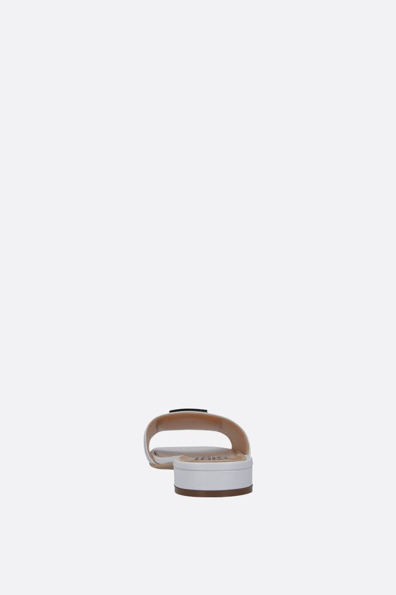 SERGIO ROSSI: Logomaniac soft nappa flat sandals Color White_4