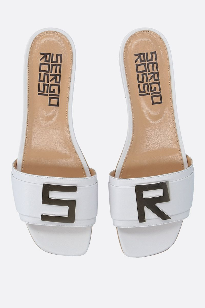 SERGIO ROSSI: Logomaniac soft nappa flat sandals Color White_5