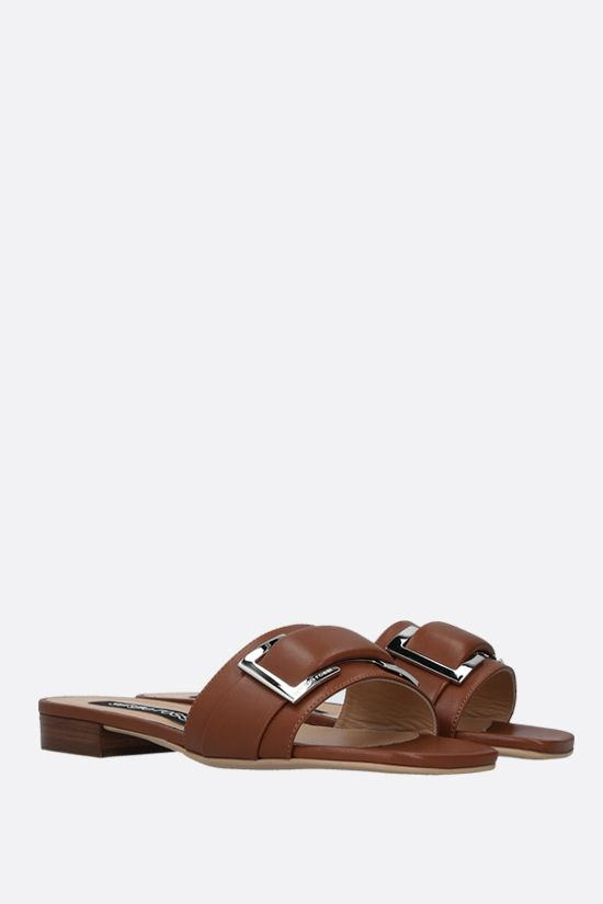 SERGIO ROSSI: sr Prince nappa slide sandals Color Brown_2
