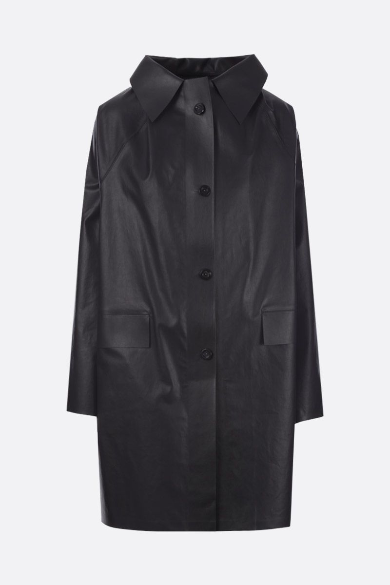 KASSL EDITIONS: coated canvas single-breasted overcoat Color Black_1