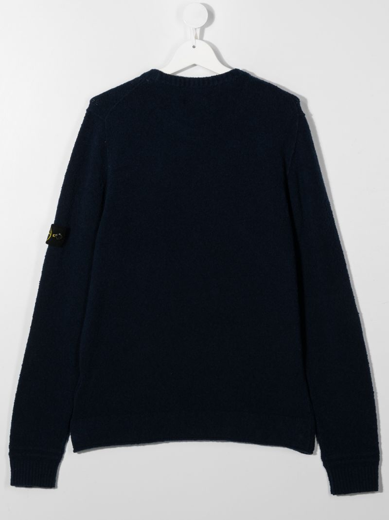 STONE ISLAND JUNIOR: logo badge-detailed cotton blend pullover Color Blue_2