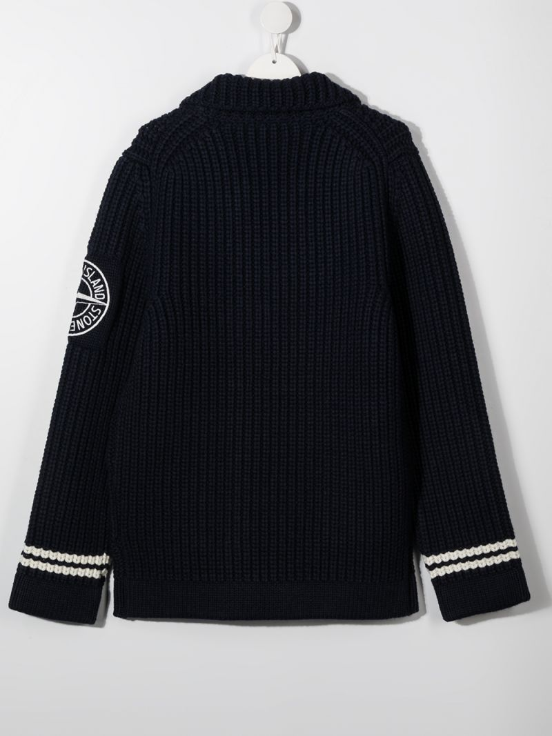 STONE ISLAND JUNIOR: logo patch wool blend cardigan Color Blue_2