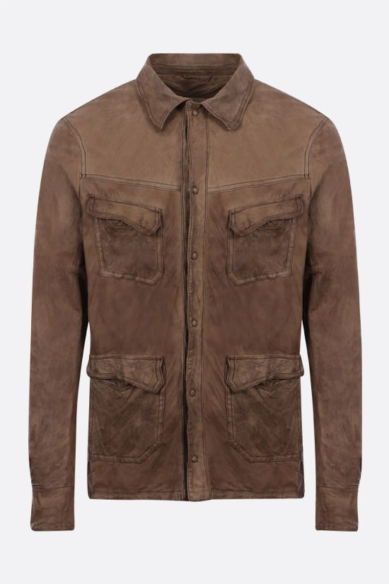 GIORGIO BRATO: crickled-effect leather bush jacket Color Green_1