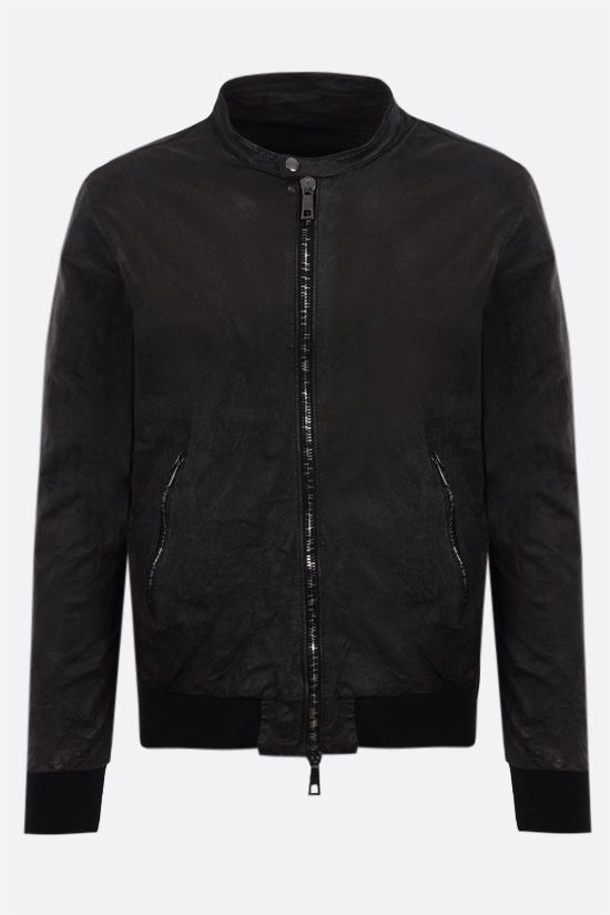 GIORGIO BRATO: crinkled-effect leather bomber jacket Color Black_1
