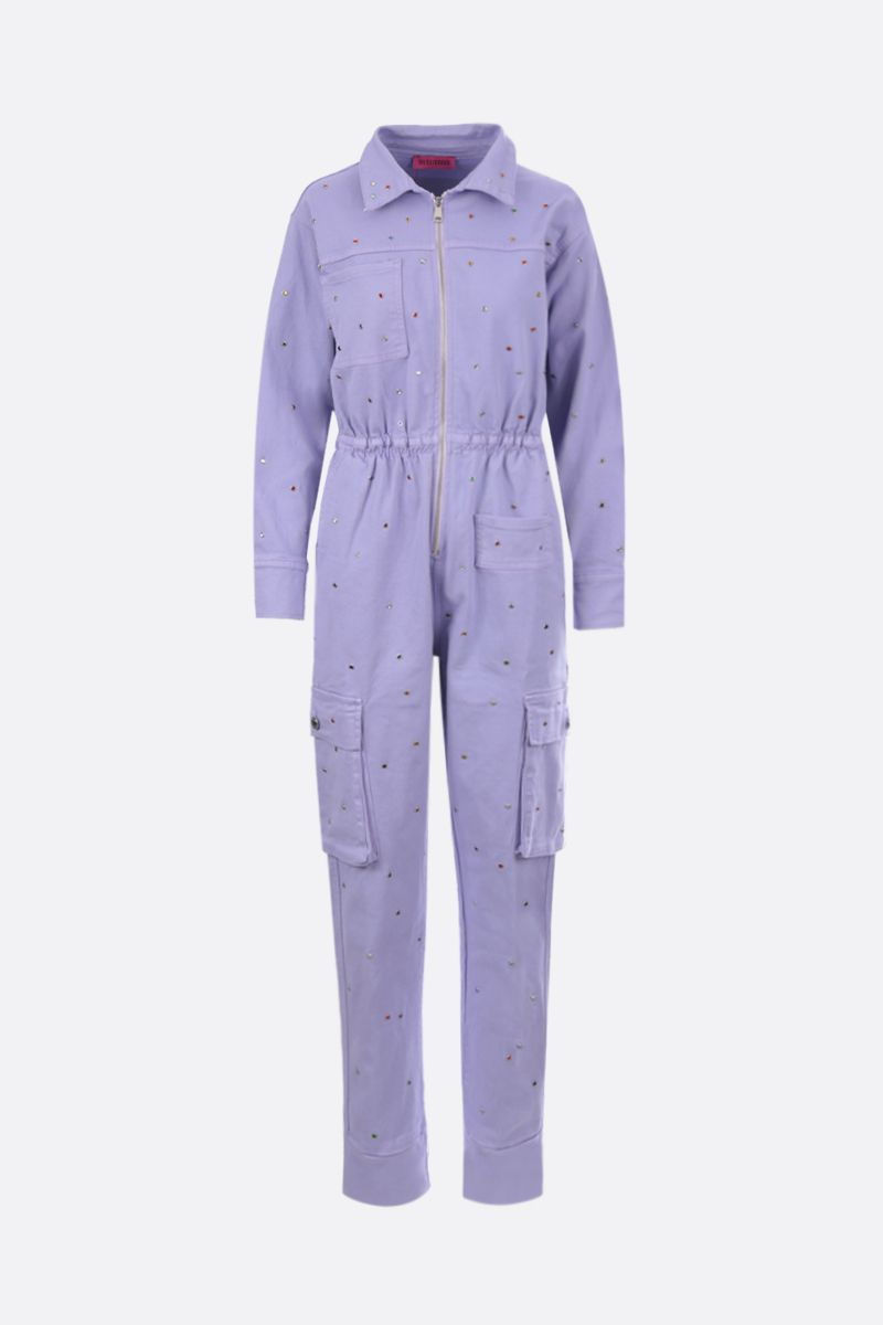 IRENEISGOOD: crystal-embellished denim jumpsuit Color Purple_1