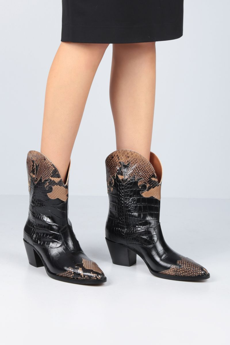 PARIS TEXAS: python and crocodile embossed leather western boots Color Black_2