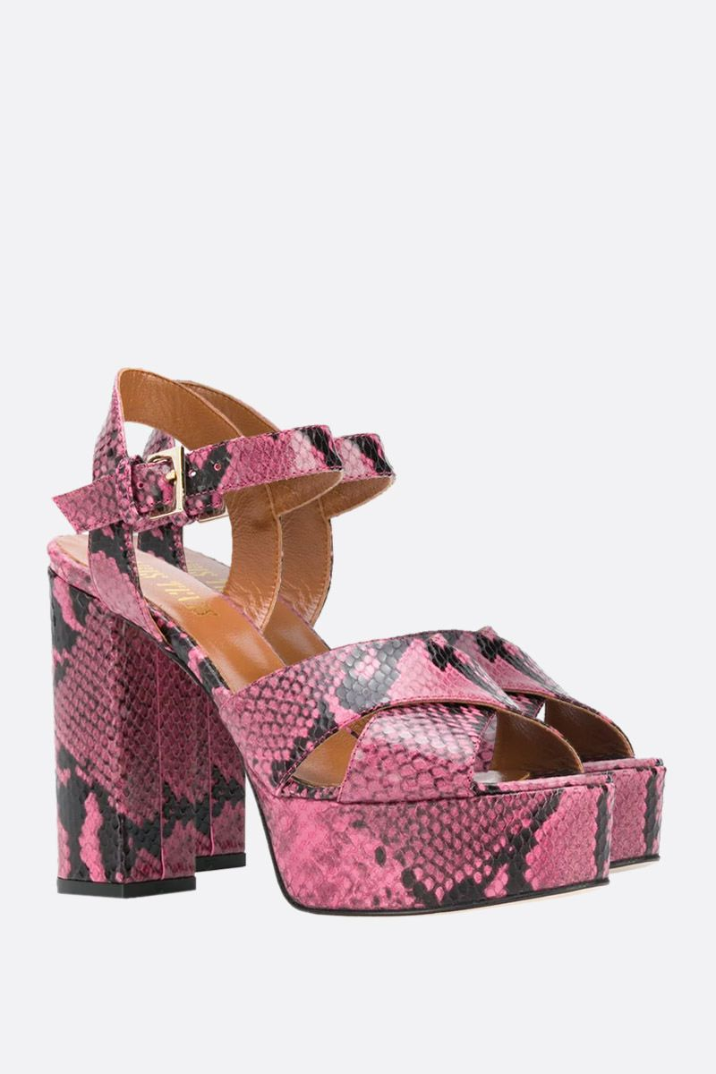 PARIS TEXAS: python print leather platform sandals Color Pink_2
