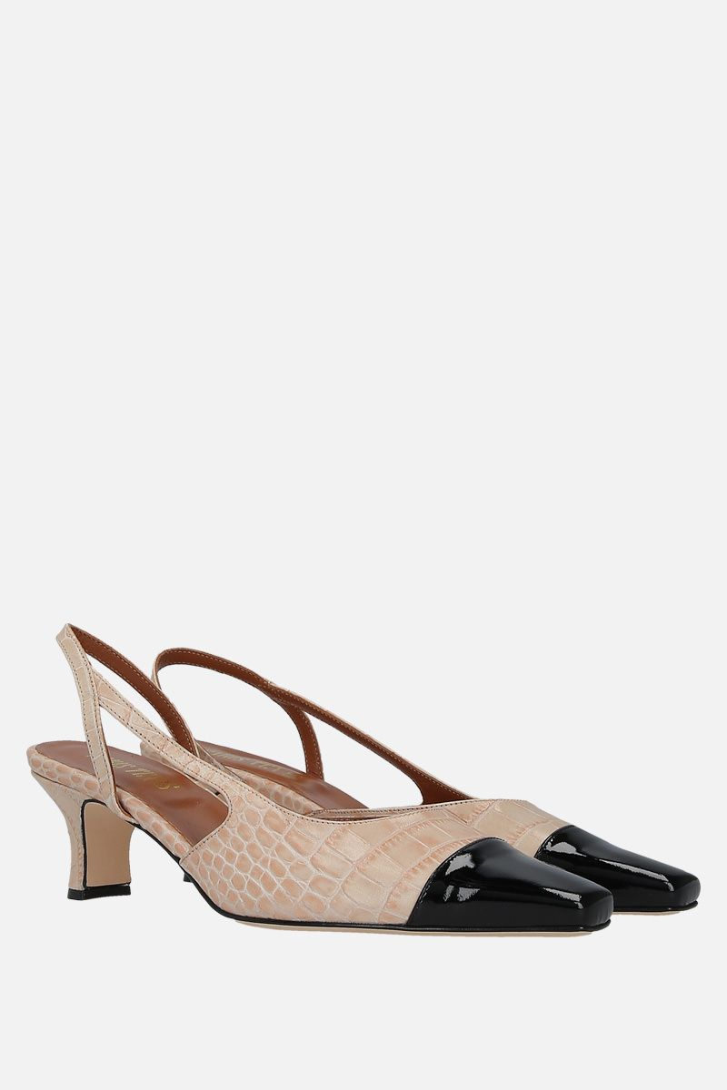 PARIS TEXAS: crocodile embossed leather slingbacks_2