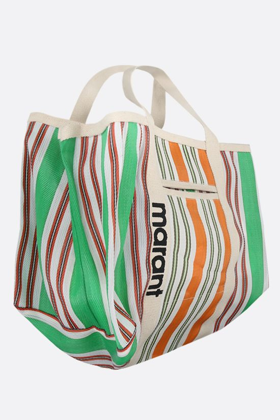 ISABEL MARANT: Warden nylon and canvas shopping bag Color Green_2