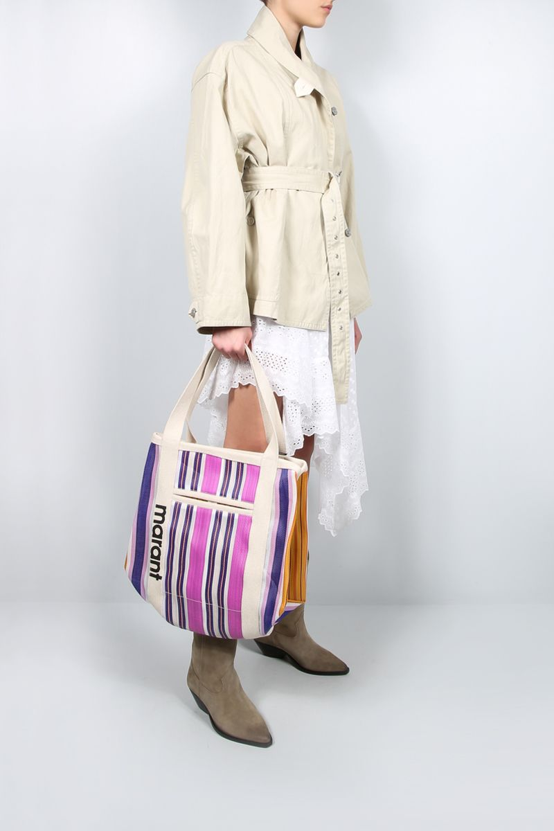 ISABEL MARANT: Darwen nylon and canvas shopping bag Color Multicolor_2