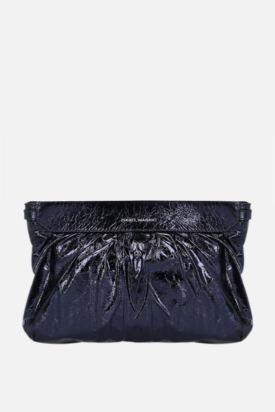 ISABEL MARANT: Luzes laminated leather strap clutch Color Black_1