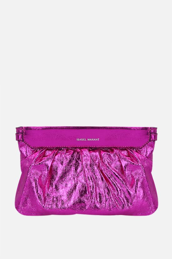 ISABEL MARANT: Luzes laminated leather strap clutch Color Pink_1