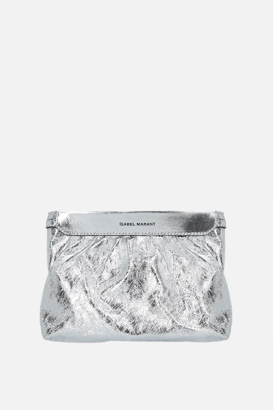 ISABEL MARANT: Miniluz laminated leather clutch Color Silver_1