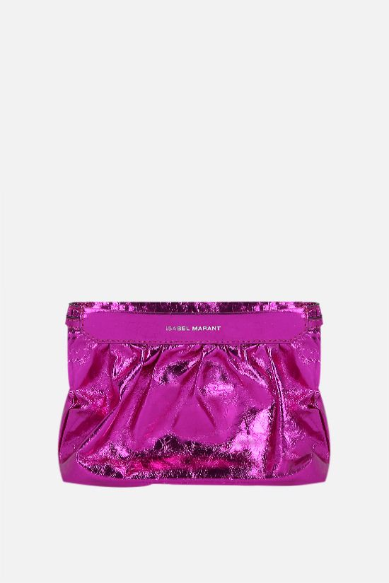 ISABEL MARANT: Miniluz laminated leather clutch Color Pink_1