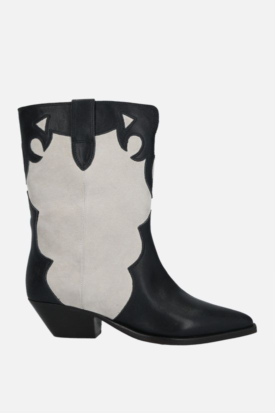 ISABEL MARANT: Duoni smooth leather and suede western boots Color Neutral_1