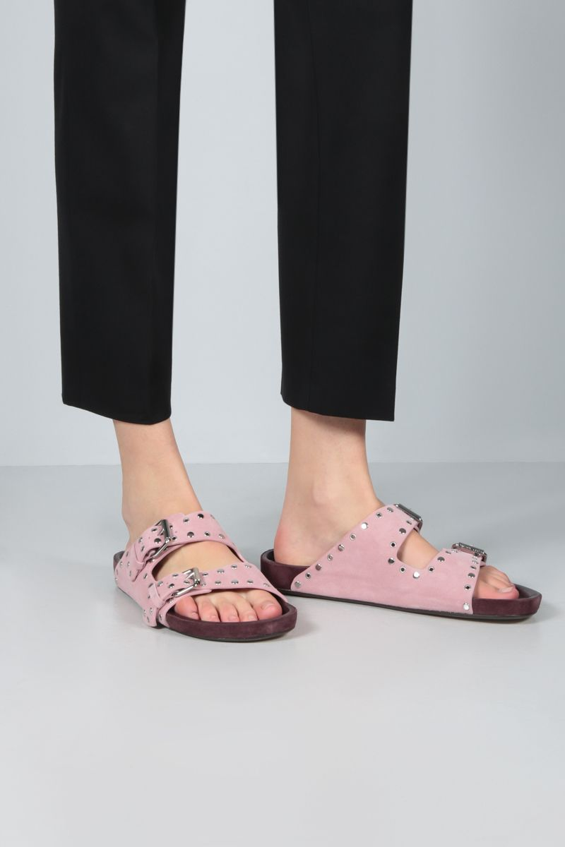ISABEL MARANT: Lennyo studded suede flat sandals Color Pink_2