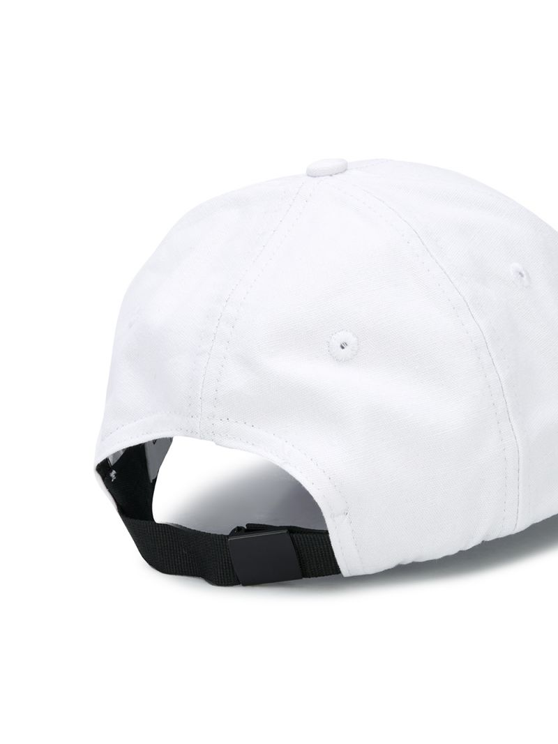 STONE ISLAND JUNIOR: logo embroidered canvas baseball cap Color White_2
