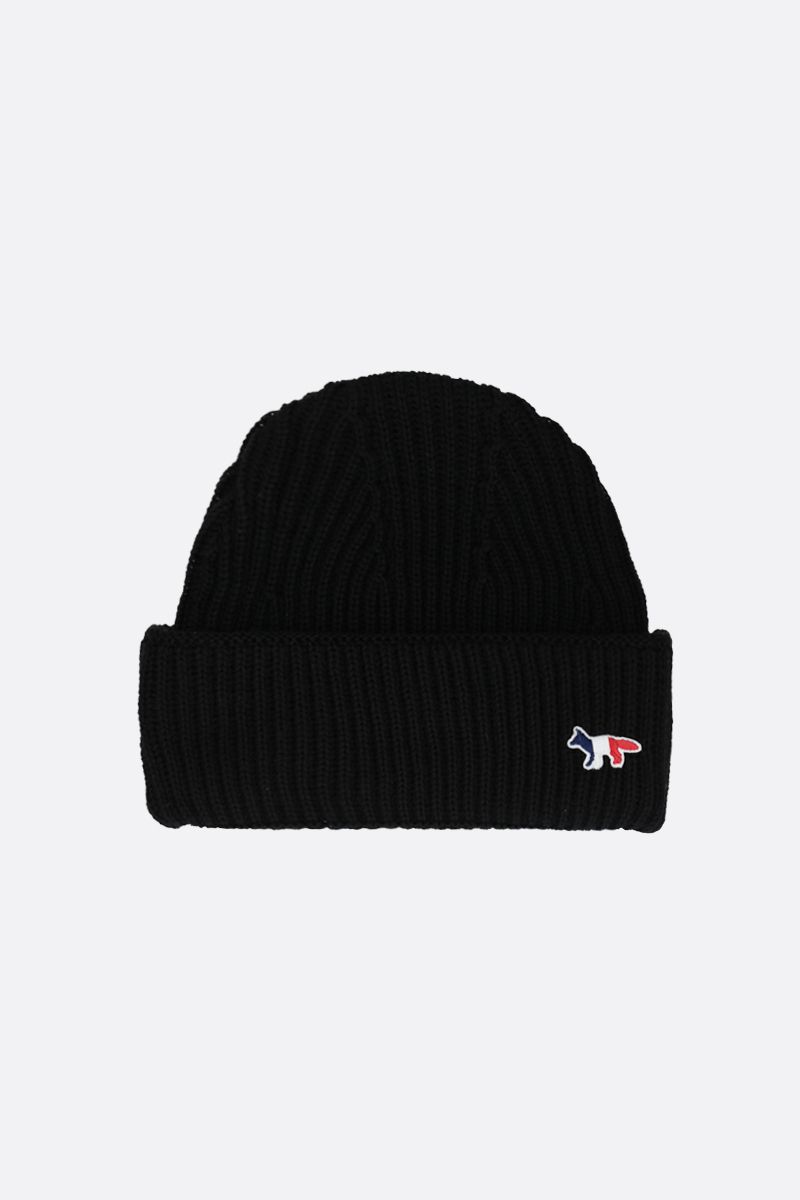 MAISON KITSUNÈ: Tricolor Fox patch wool beanie Color Black_1