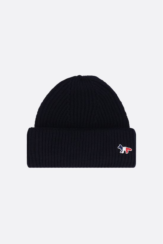 MAISON KITSUNÈ: Tricolor Fox patch wool beanie Color Blue_1