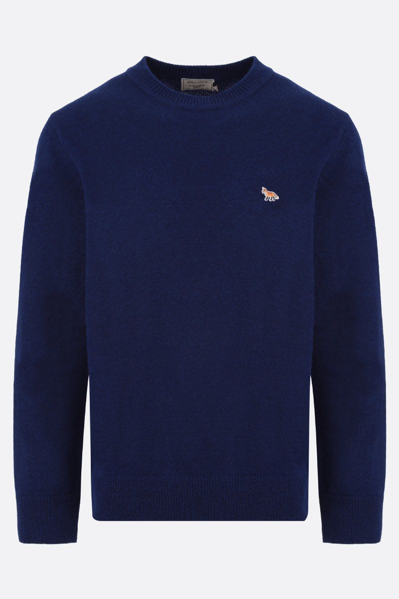 MAISON KITSUNÈ: Fox patch wool pullover Color Blue_1