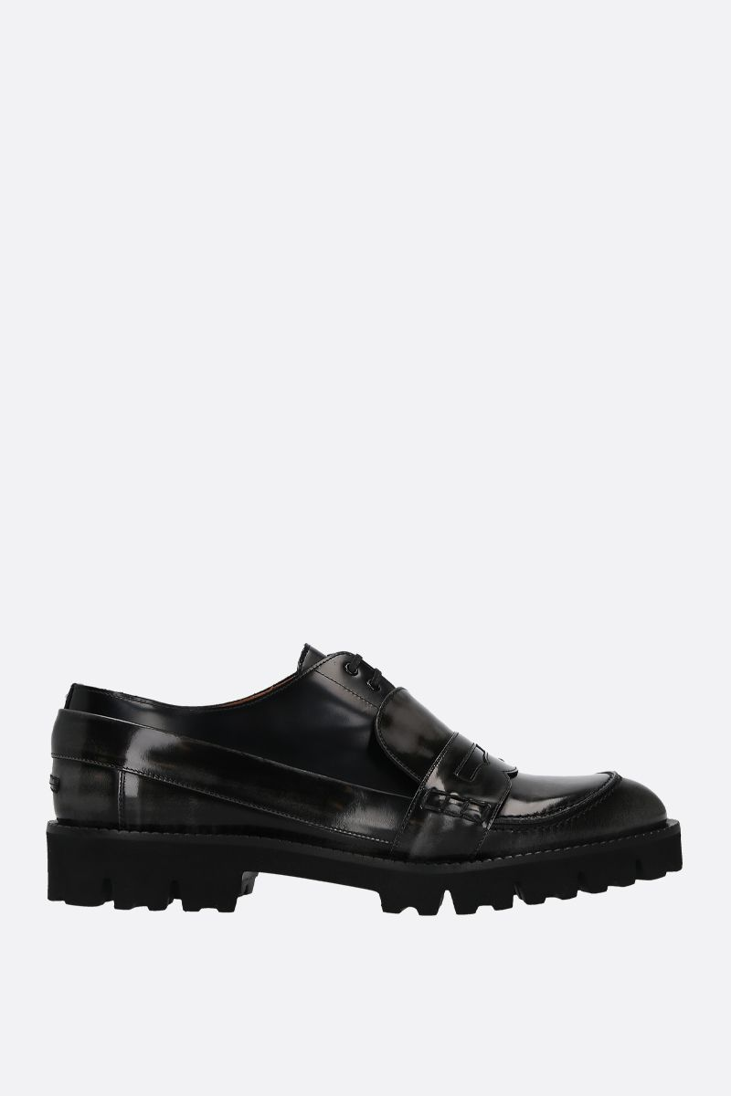 MAISON MARGIELA: Spliced brushed calf loafers Color Grey_1