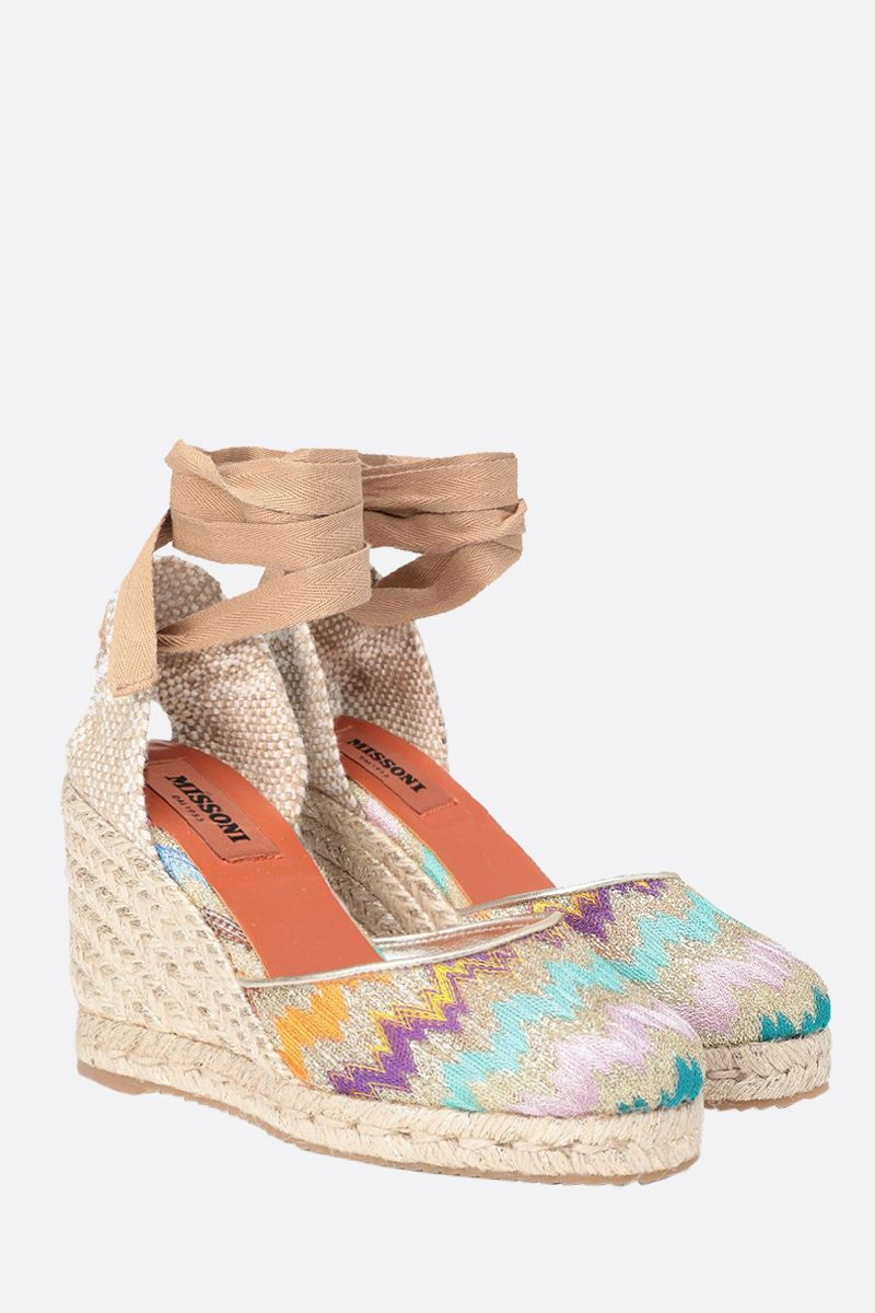 MISSONI: lurex knit and jute wedge espadrilles Color Multicolor_2