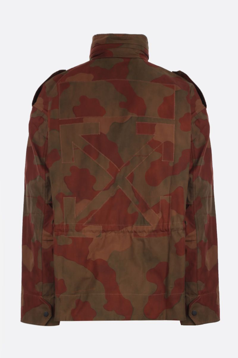 OFF WHITE: giacca sahariana oversize in cotone camouflage Colore Verde_2