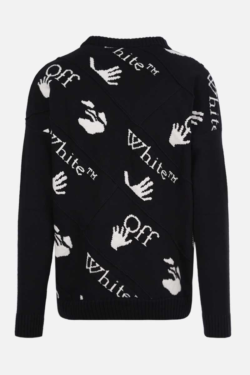 OFF WHITE: Drowning cotton blend pullover Color Black_2