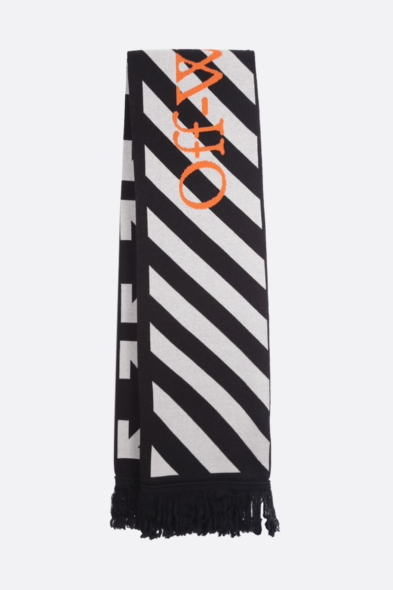 OFF WHITE: Off-White™ cotton wool blend scarf Color Black_2