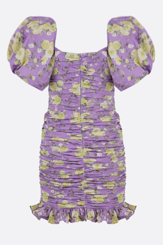 GIUSEPPE DI MORABITO: floral print stretch cotton draped minidress Color Purple_2