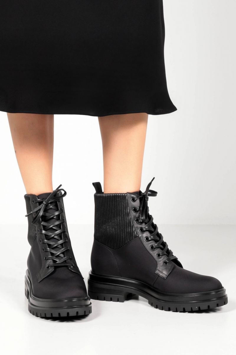 GIANVITO ROSSI: Martis nylon and smooth leather combat boots Color Black_2
