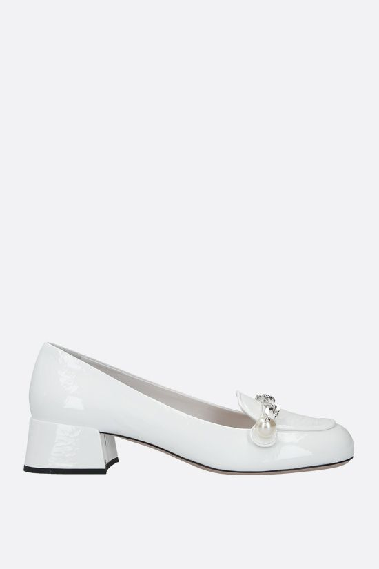 MIU MIU: chain-detailed naplak loafers Color White_1