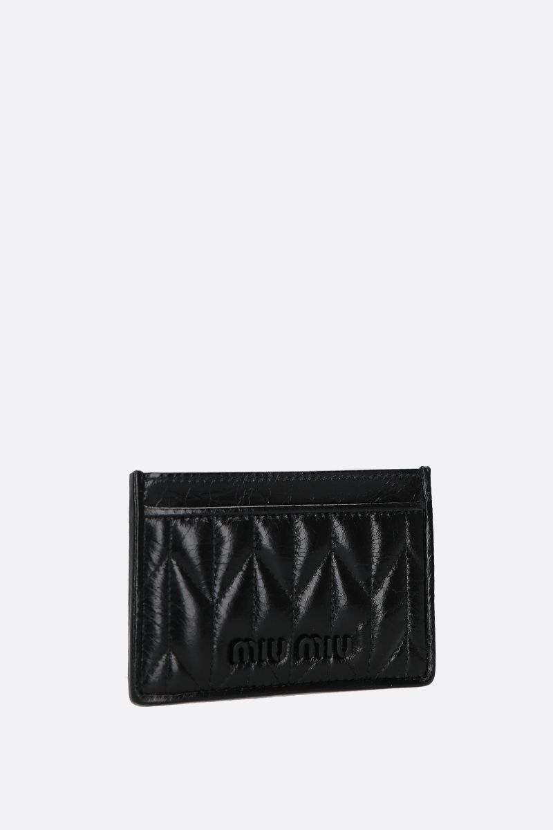 MIU MIU: quilted Shine leather card case Color Black_2