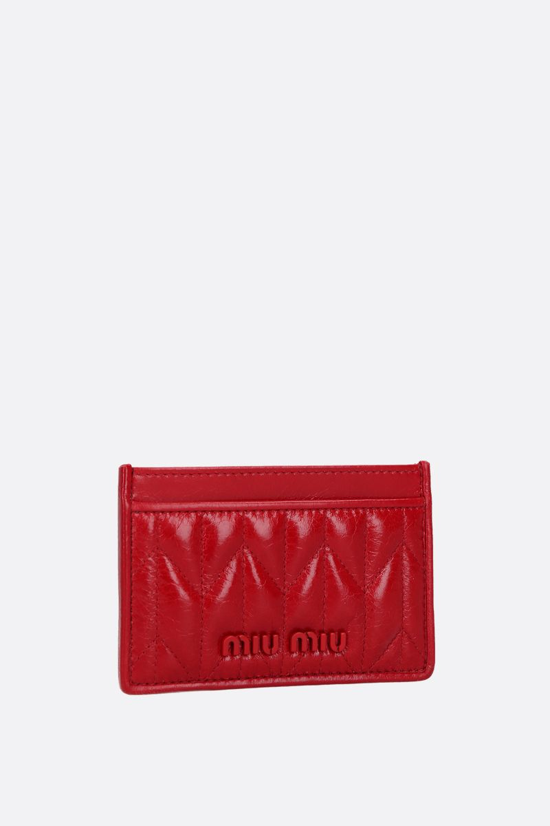 MIU MIU: quilted Shine leather card case Color Red_2