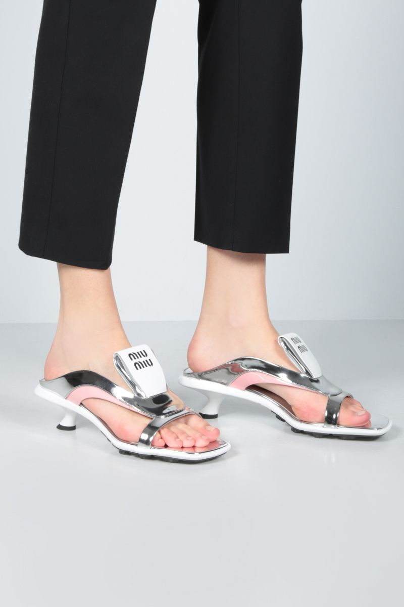 MIU MIU: Metal Tech fabric and patent leather sandals Color Silver_2