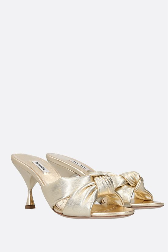 MIU MIU: Mordorè nappa mule sandals Color Gold_2
