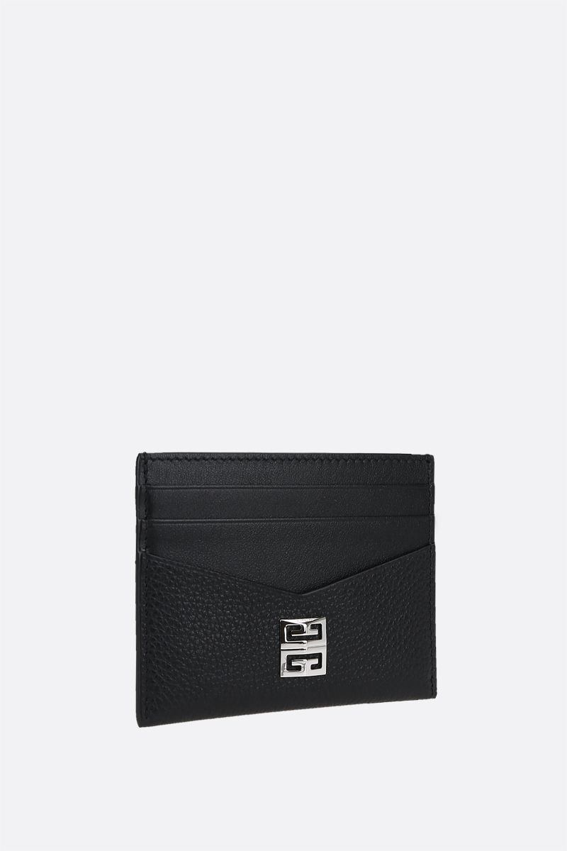 GIVENCHY: 4G logo-detailed smooth and grainy leather card case Color Black_2
