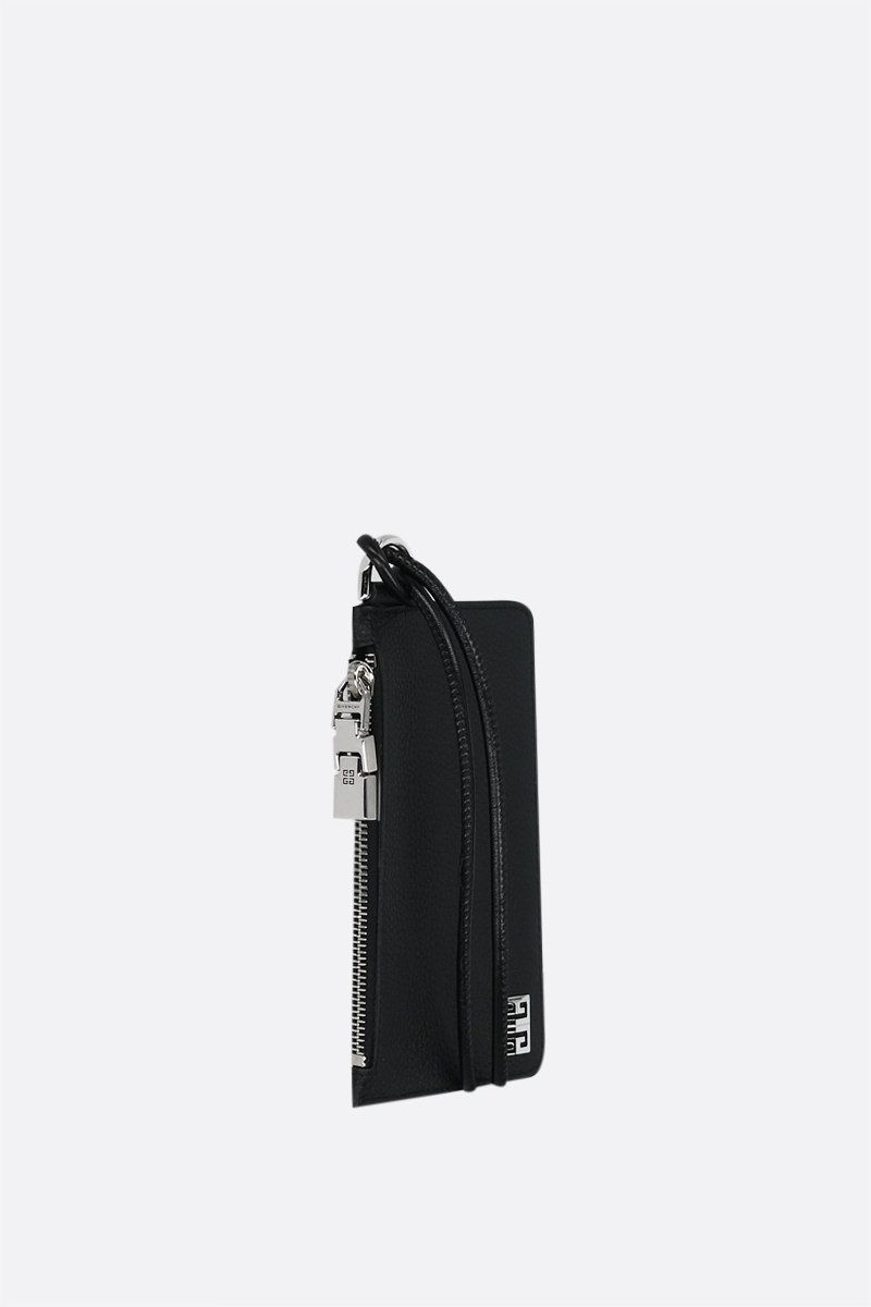 GIVENCHY: logo-detailed grainy leather card case Color Black_2