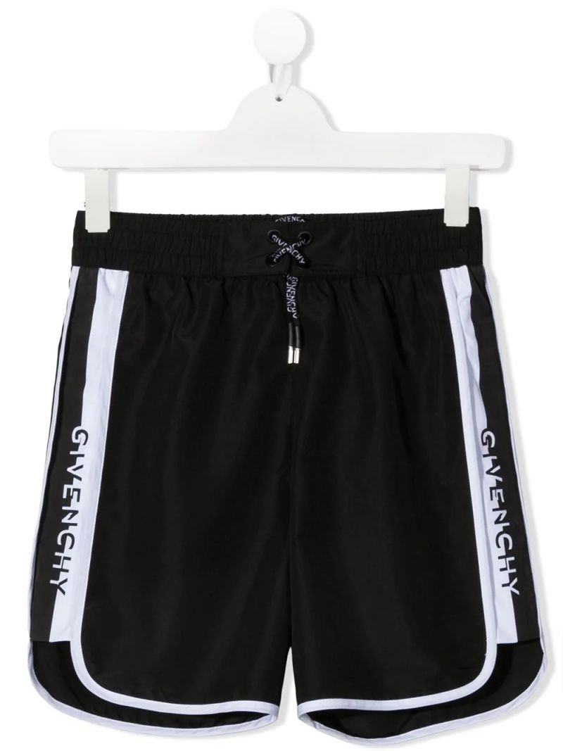 GIVENCHY KIDS: logo-detailed nylon swim shorts Color Black_1