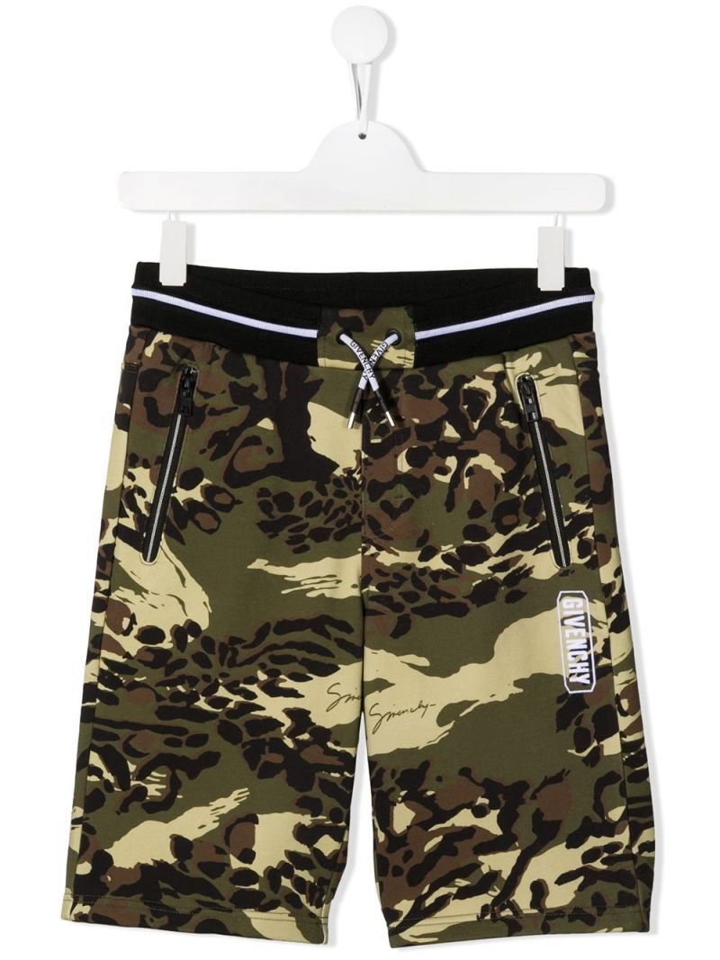 GIVENCHY KIDS: camouflage print jersey shorts Color Brown_1