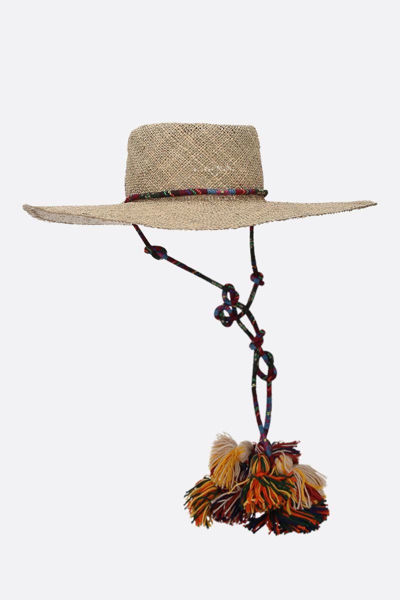 RUSLAN BAGINSKIY: tassel-detailed straw hat Color Neutral_2