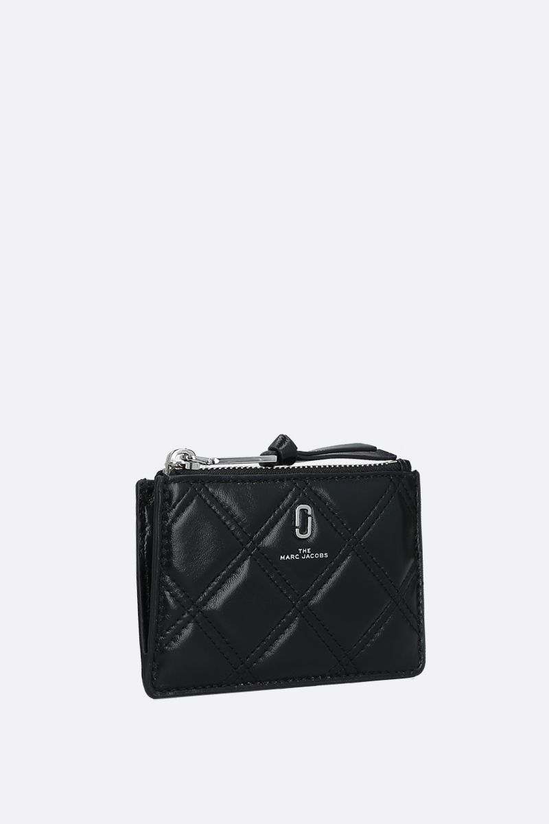 MARC JACOBS: quilted leather zip card case Color Black_2