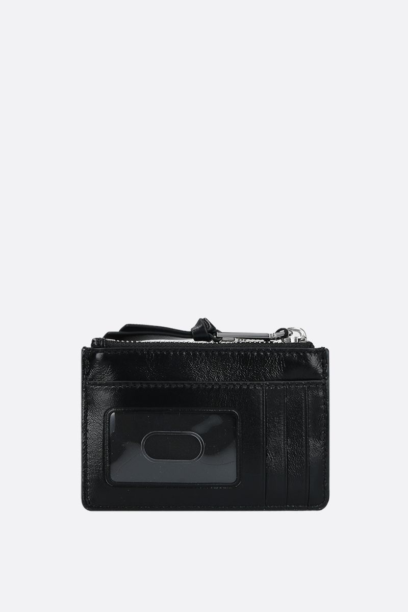 MARC JACOBS: quilted leather zip card case Color Black_3