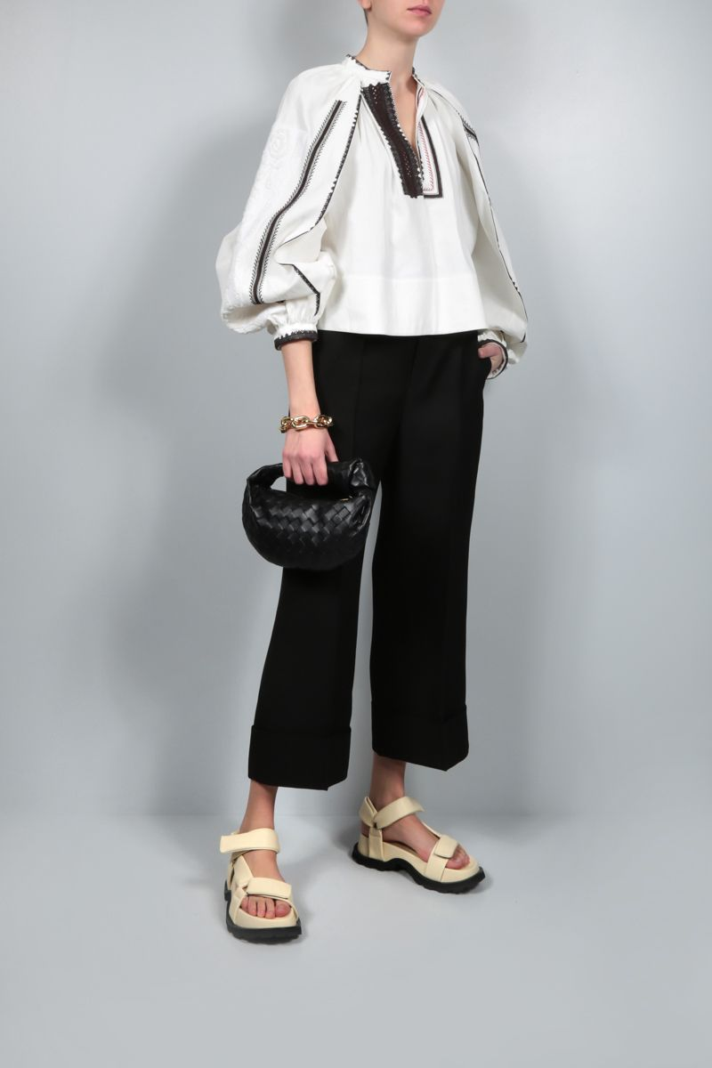 JIL SANDER: embroidered linen cropped blouse Color White_2