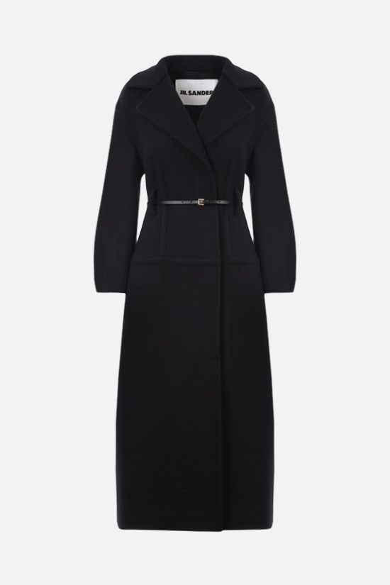 JIL SANDER: belt-detailed single-breasted wool coat Color Black_1