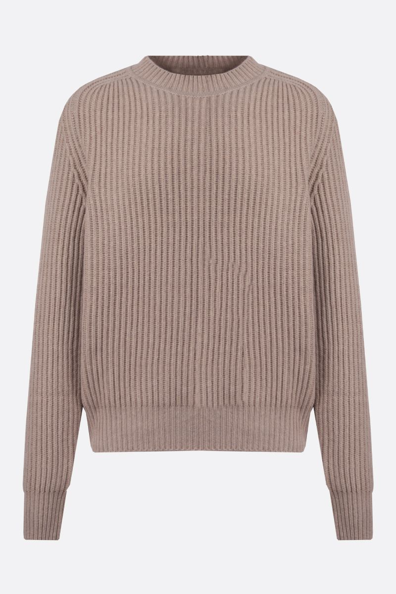 JIL SANDER: ribbed cashmere pullover Color Neutral_1