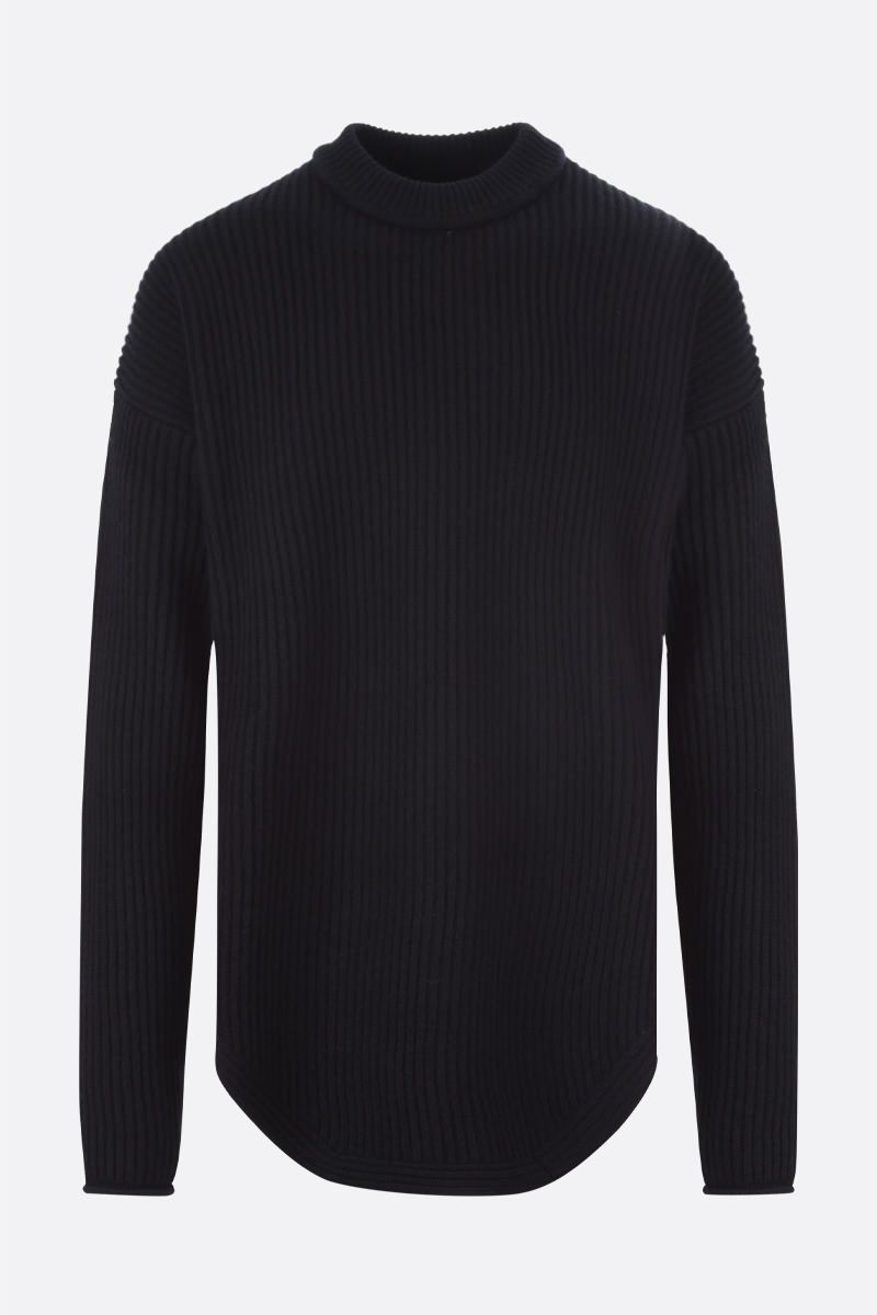 JIL SANDER: crochet insert-detailed ribbed wool pullover Color Black_1