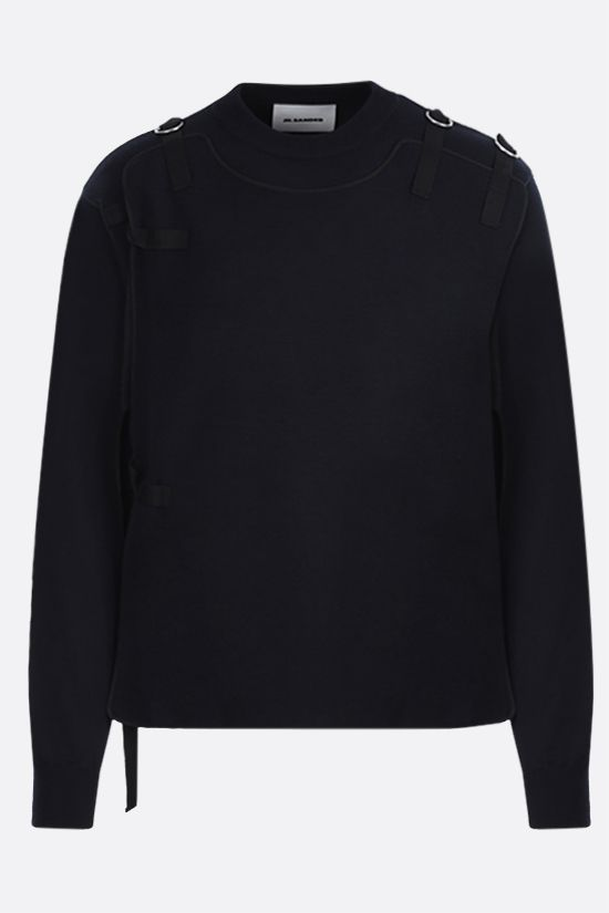 JIL SANDER: bib-detailed wool blend pullover Color Blue_1